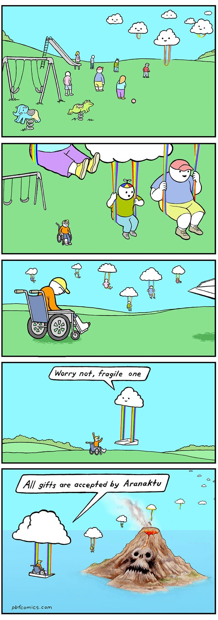 comic about clouds collecting children, including disabled ones, to sacrifice to volcano god