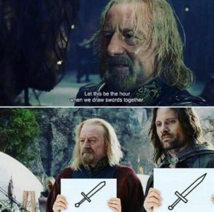 lotr pun about drawing swords
