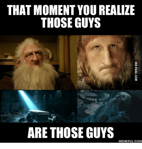 lotr meme about realizing dwarfs from The Hobbit died