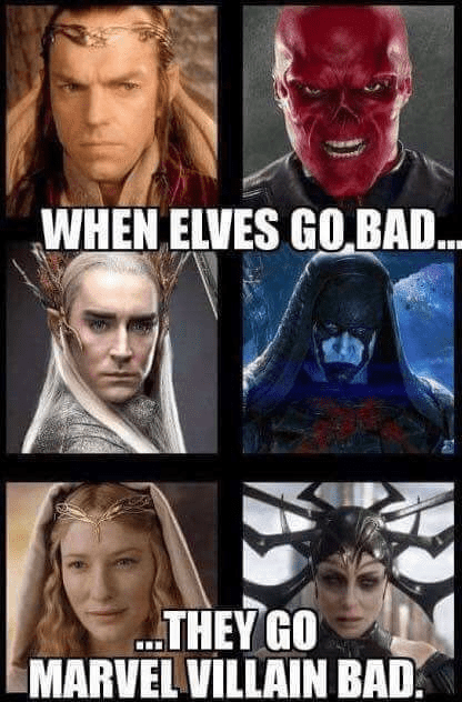 meme about lotr elves' actors playing villains in Marvel movies