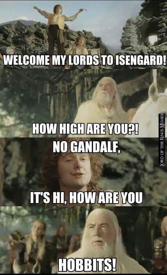 lotr meme about hobbits being high with photos of Gandalf and Pippin
