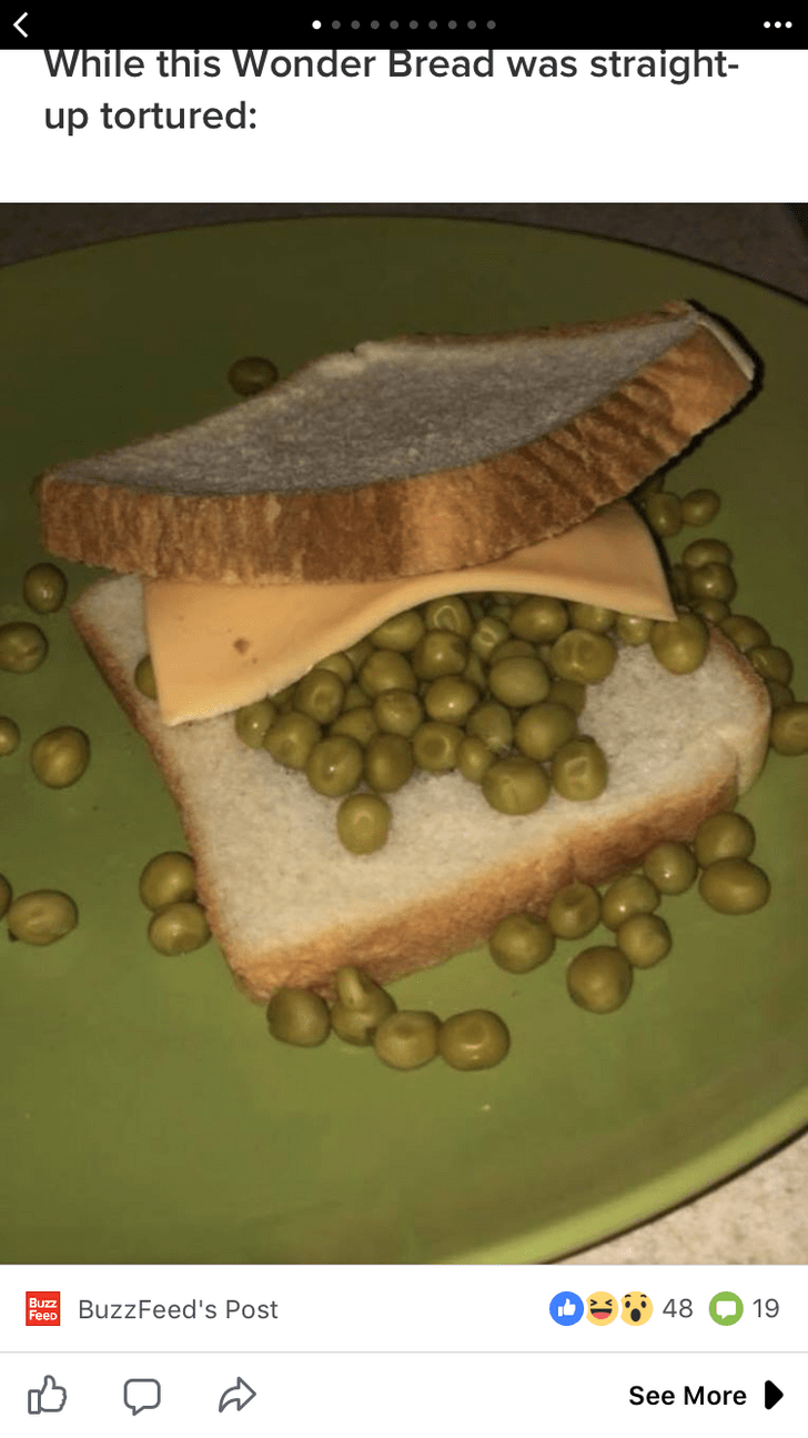 cursed_image- sandwich filled with peas and a slice of cheese
