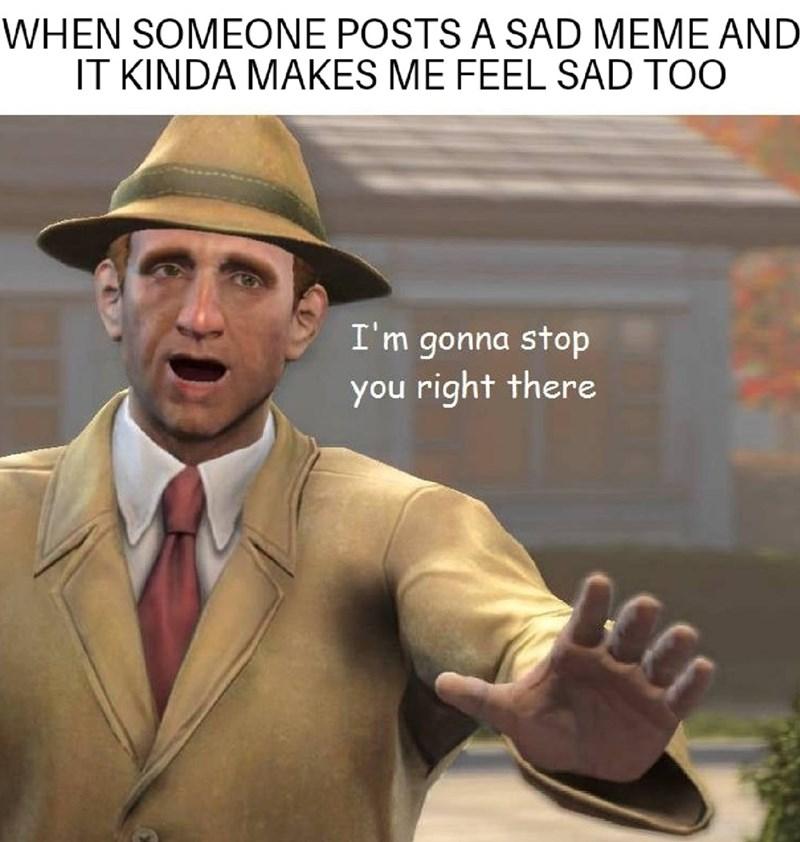 wholesome meme about feeling sad from a sad meme