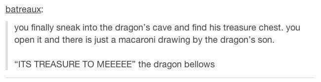 wholesome meme about a dragon keeping a drawing his son drew in his treasure chest