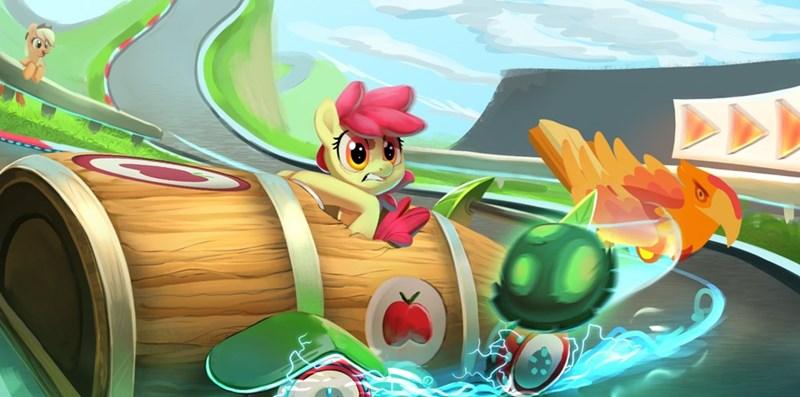 applejack apple bloom Mario Kart tank imalou the cart before the ponies - 9228985344