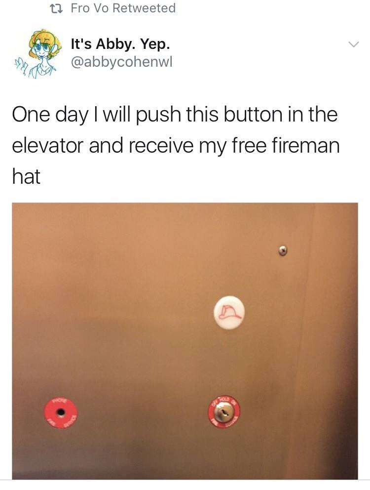 humpday meme about a button in the elevator that gives you hats