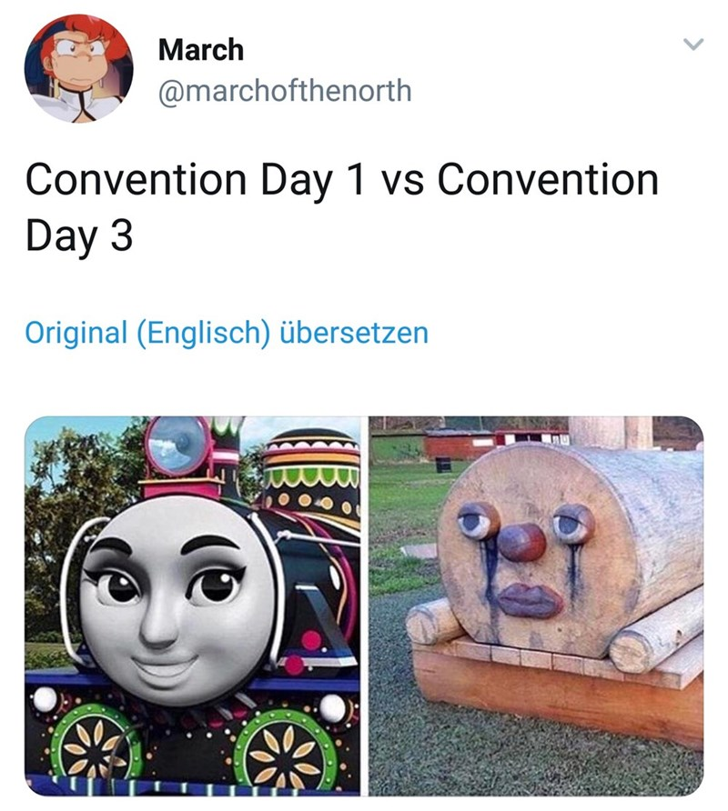 humpday meme about going to cons and looking progressively worse as the days pass