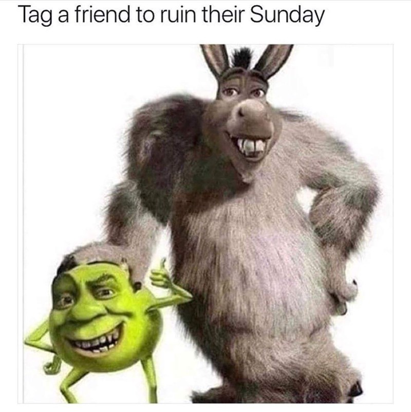humpday meme of Shrek and Donkey's heads photoshopped on Sully and Mike Wazowski's bodies