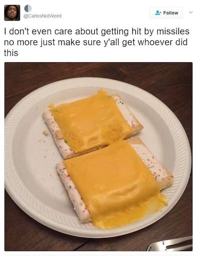 humpday meme about the horror of melted cheese on pop tarts
