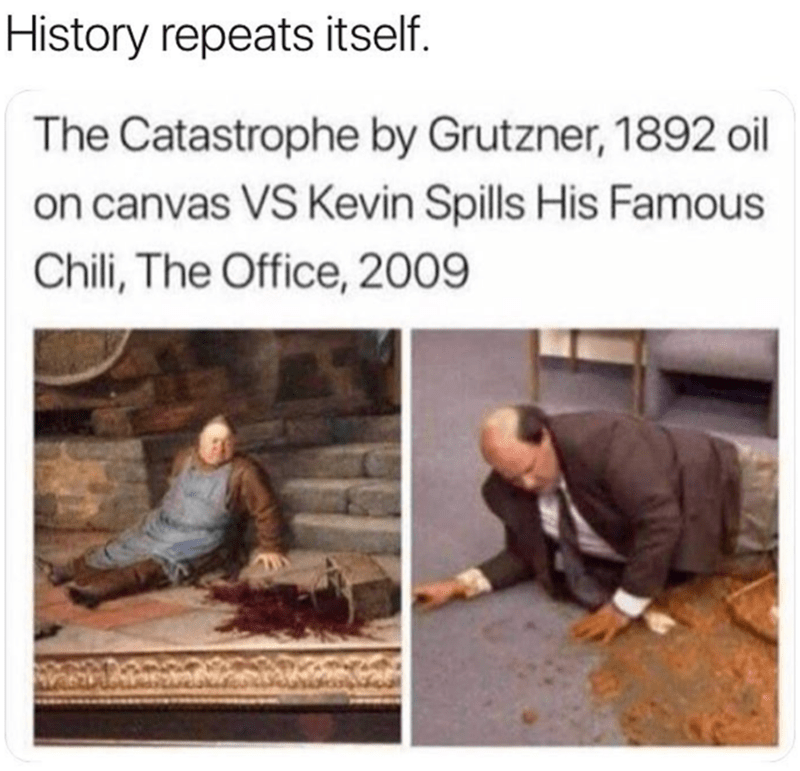 humpday meme about Kevin from The Office recreating classic paintings