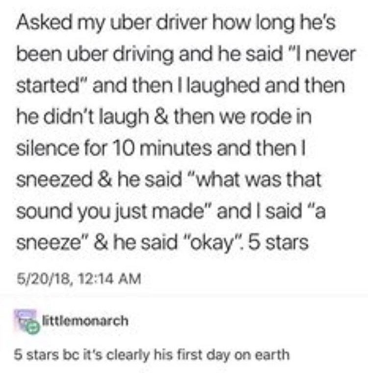 humpday meme about taking an uber driven by an adult newborn