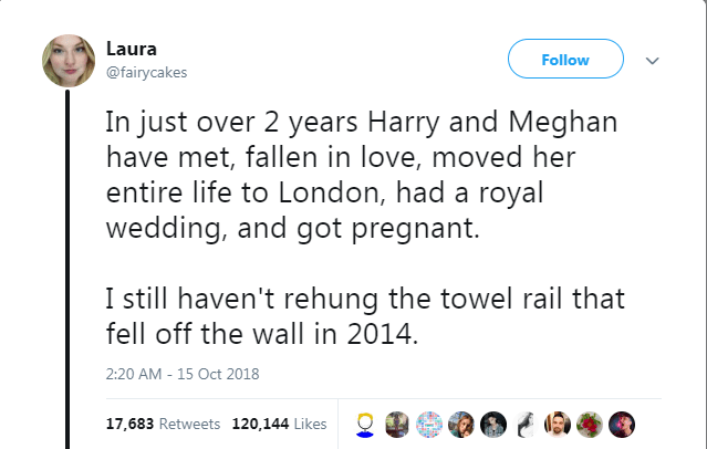 Text - Laura Follow @fairycakes In just over 2 years Harry and Meghan have met, fallen in love, moved her entire life to London, had a royal wedding, and got pregnant. I still haven't rehung the towel rail that fell off the wall in 2014. 2:20 AM 15 Oct 2018 17,683 Retweets 120,144 Likes