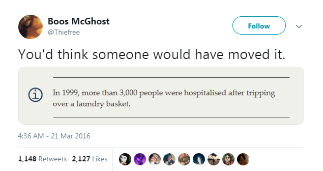 Text - Boos McGhost Follow @Thiefree You'd think someone would have moved it. In 1999, more than 3,000 people were hospitalised after tripping over a laundry basket. 4:36 AM-21 Mar 2016 1,148 Retweets 2,127 Likes
