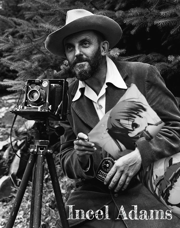 photo of Ansel Adams holding hentai pillow captioned as Incel Adams