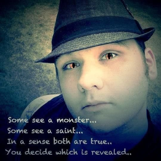 neckbeard meme with photo of man in fedora and photoshopped eyes with caption saying he is both monster and saint