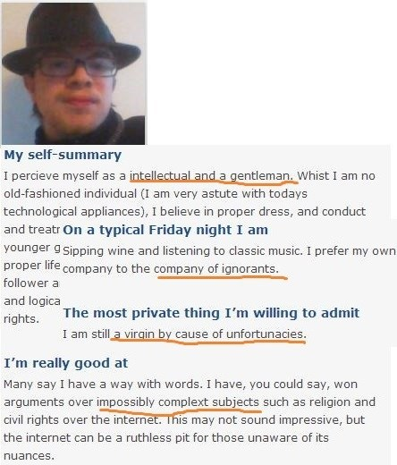 dating profile of incel wearing fedora winning impossibly complex arguments over the internet