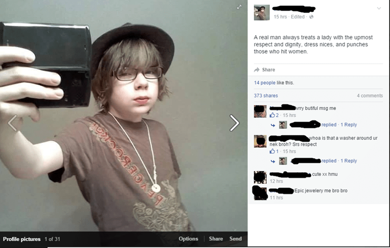 facebook post of boy in fedora explaining what being a real man is and getting obviously fake positive replies