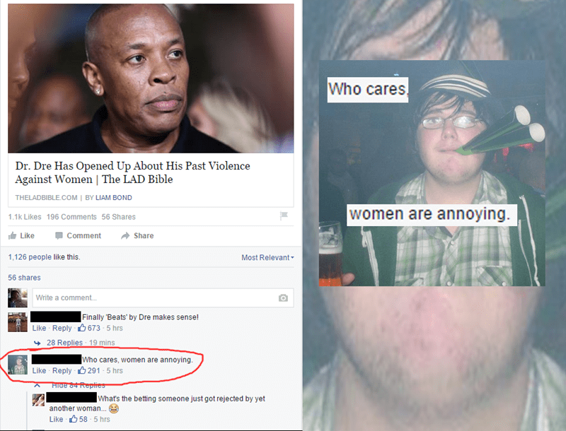 comment calling women annoying on post about dr. dre's domestic violence is zoomed on to reveal thumbnail is of fedora wearing neckbeard