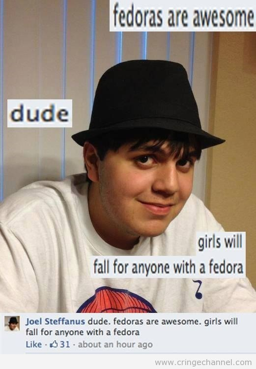 facebook post about fedora wearing man and comment claiming girls will fall for him