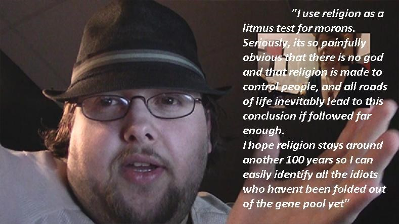 photo of fedora wearing neckbeard captioned with story about using religion as litmus paper for morons