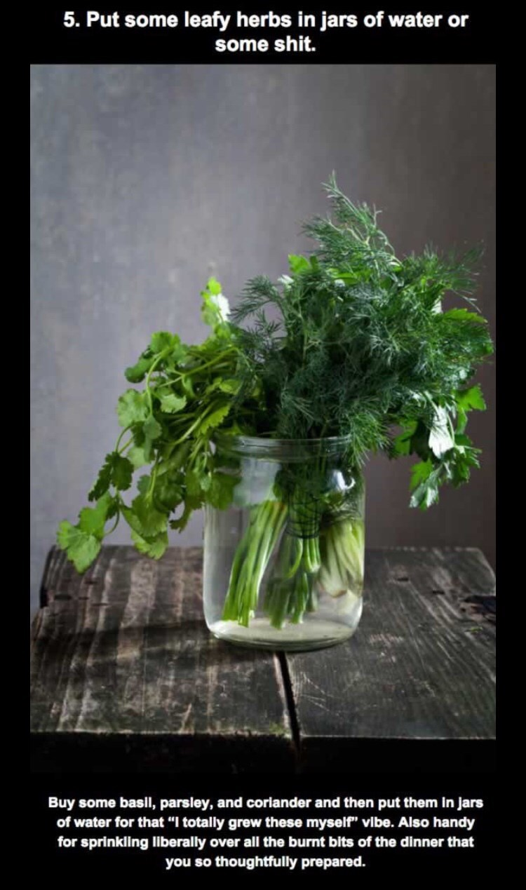 """Flowerpot - 5. Put some leafy herbs in jars of water or some shit. Buy some basil, parsley, and coriander and then put them in jars of water for that """"I totally grew these myself"""" vibe. Also handy for sprinkling liberally over all the burnt bits of the dinner that you so thoughtfully prepared."""
