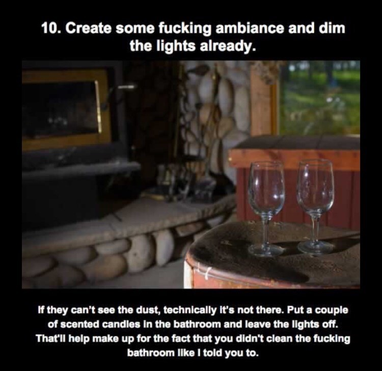 Photo caption - 10. Create some fucking ambiance and dim the lights already. If they can't see the dust, technically it's not there. Put a couple of scented candles in the bathroom and leave the lights off. That'll help make up for the fact that you didn't clean the fucking bathroom like I told you to.