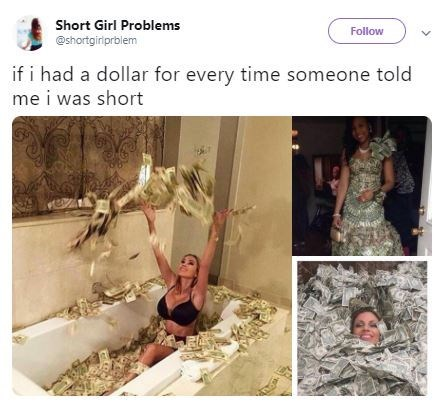Text - Short Girl Problems Follow @shortgiriprblem if i had a dollar for every time someone told me i was short 88