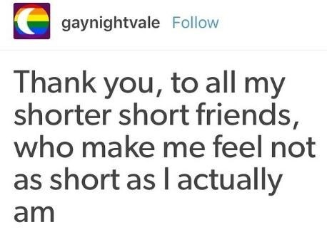 Text - gaynightvale Follow Thank you, to all my shorter short friends, who make me feel not as short as I actually am
