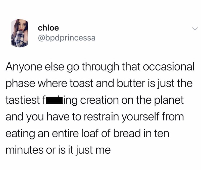 twitter screenshot about food cravings for buttered toast