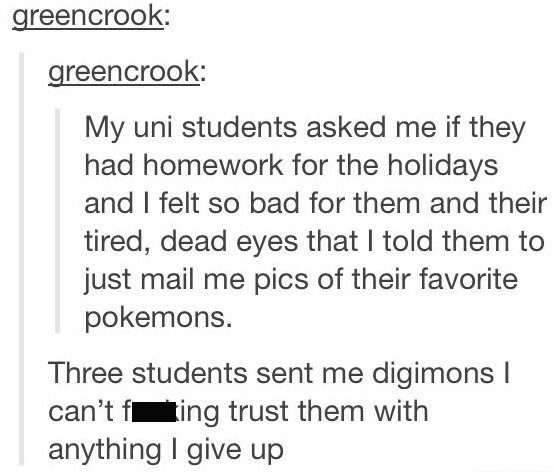 tumblr post about university students