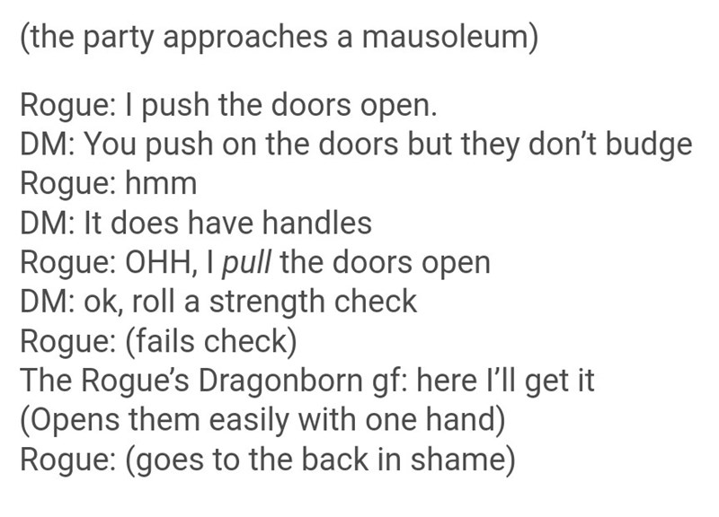 dungeons and dragons meme about the push pull door