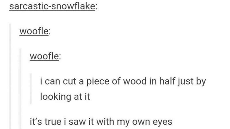 pun about the word saw meaning both seeing and cutting wood