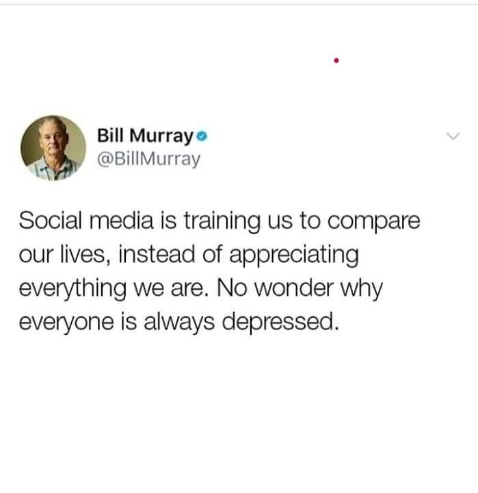 Bill Murray tweet about social media causing depression