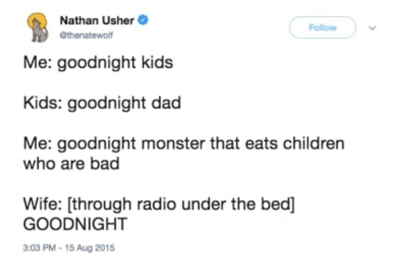 tweet of mom pretending to be monster under the bed