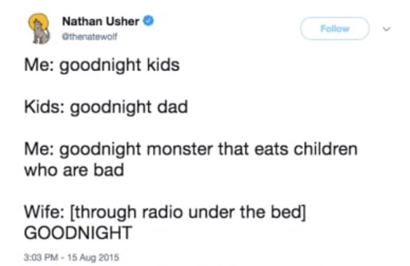 tweet of mom pretending to be monster under the bed