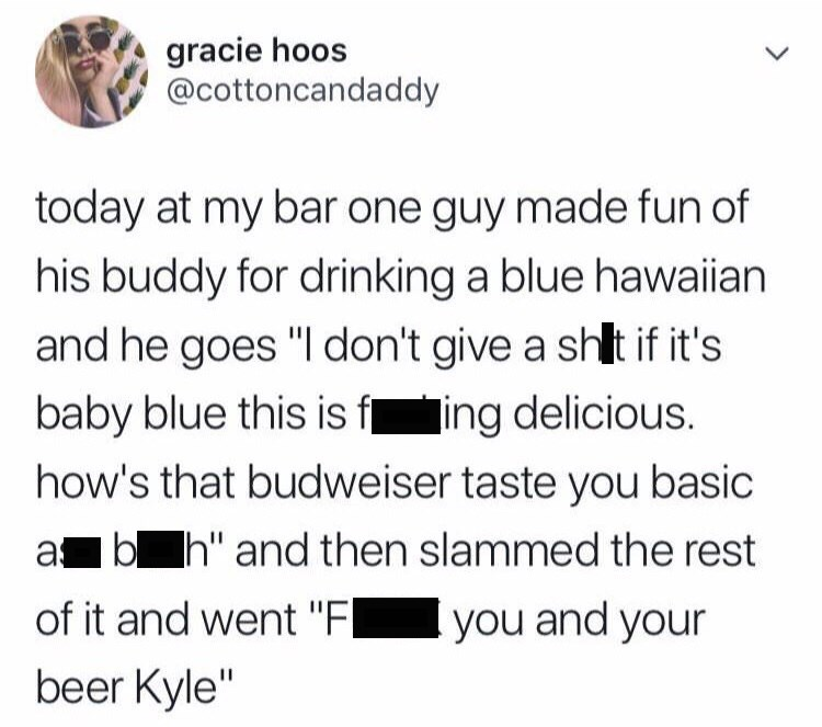 tweet about guy at bar drinking cocktails over beers