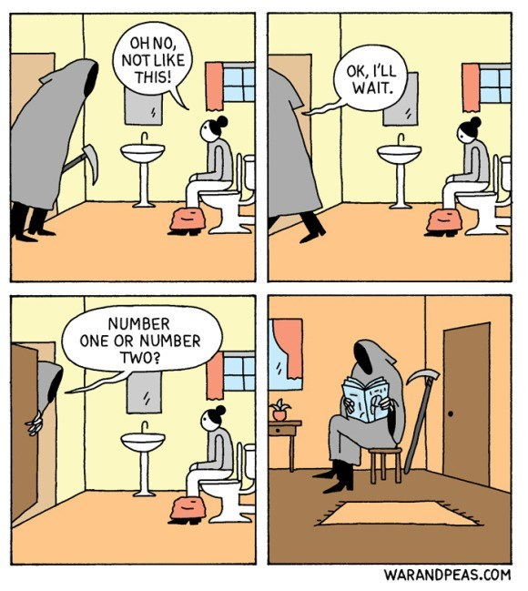 Cartoon - OH NO, NOT LIKE THIS! OK, I'LL WAIT NUMBER ONE OR NUMBER TW0? WARANDPEAS.COM