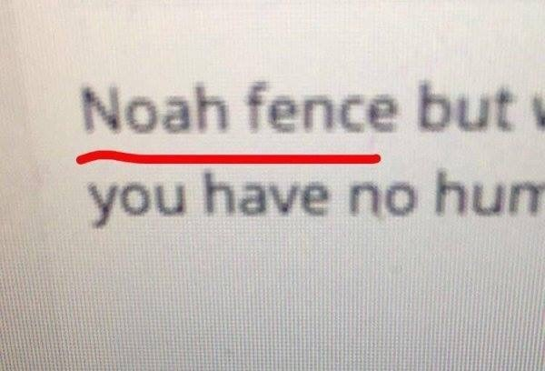 Text - Noah fence but you have no hum