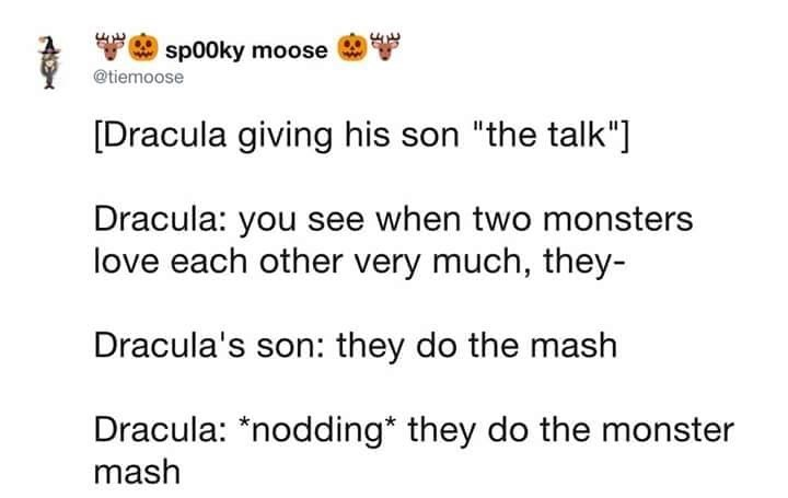 meme tweet about Dracula giving his son the talk