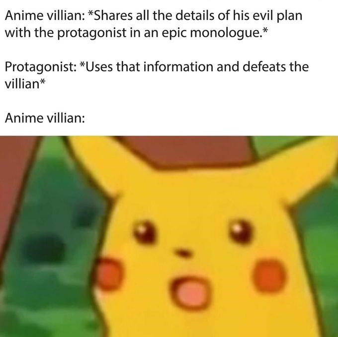 surprised Pikachu meme about anime protagonist defeat villains