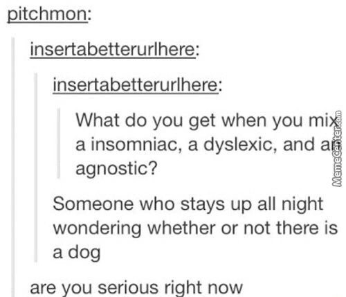 Text - pitchmon: insertabetterurlhere: insertabetterurlhere: What do you get when you mix a insomniac, a dyslexic, and agnostic? Someone who stays up all night wondering whether or not there is a dog are you serious right now MemeCent