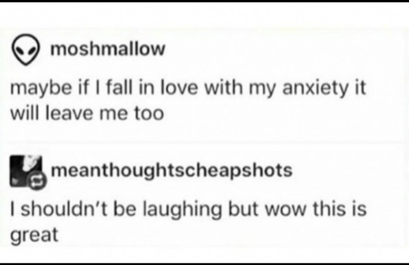 Text - moshmallow maybe if I fall in love with my anxiety it will leave me too meanthoughtscheapshots I shouldn't be laughing but wow this is great
