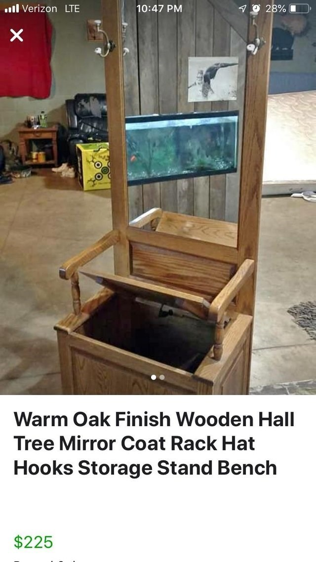 optical illusion - Furniture - 70 28% L l Verizon LTE 10:47 PM Warm Oak Finish Wooden Hall Tree Mirror Coat Rack Hat Hooks Storage Stand Bench $225 X