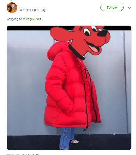 Tweet of a photo of Clifford the Big Red Dog wearing Kendall Jenner's huge jacket