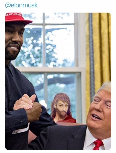 dank meme about Jesus watching through the window while Kanye West and Donald Trump shake hands