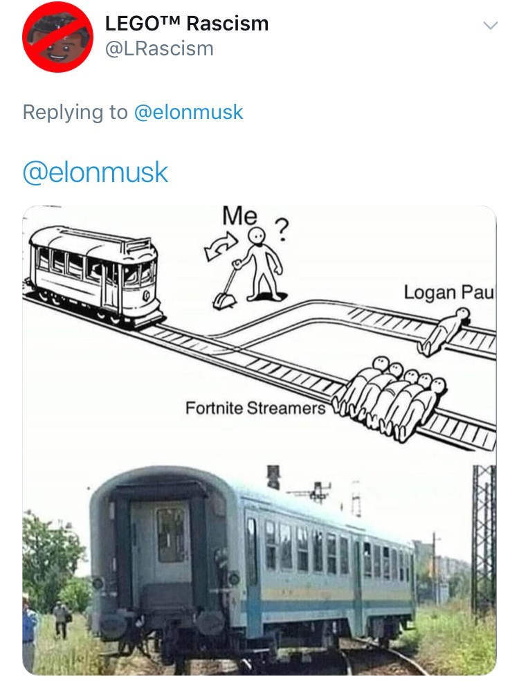 dank meme about the trolley problem making you choose between killing Logan Paul and Fortnite streamers and deciding to kill both