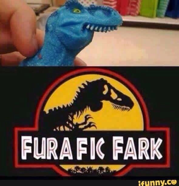 """picture of dinosaur with buck teeth and no lower jaw with the Jurassic Park logo changed into """"Jurafic Fark"""""""