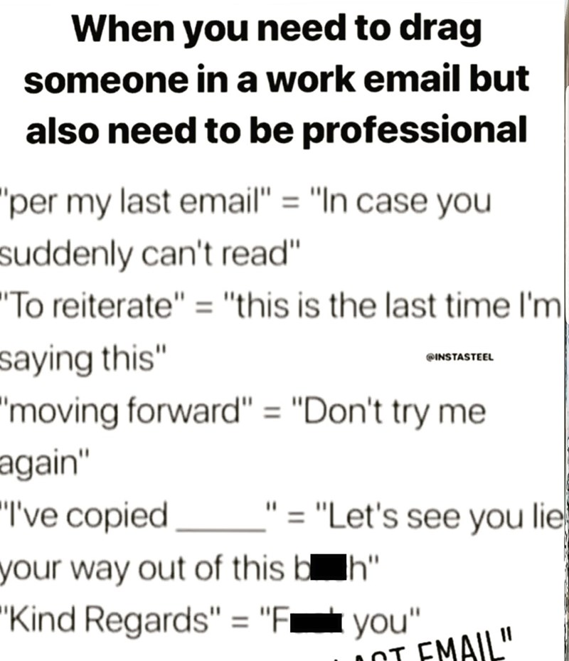 work email dictionary for when you need to drag someone but still be professional