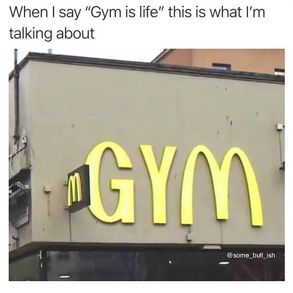 adding the letter G and Y to the McDonald's logo to create the word gym