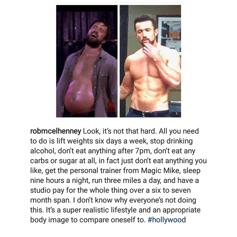 Instagram post by Rob Mcelhenney from Always Sunny explaining how fat Mac became jacked